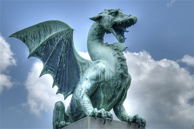 """Statue of a dragon guarding one of the beautiful bridges in downtown Ljubljana, Slovenia. June 2008."" Credit: Flickr user: Ville Miettinen"